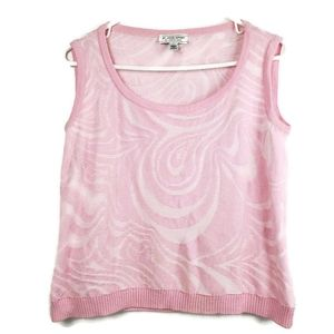 St. John Sport By Marie Gray Knit Pink White Shell